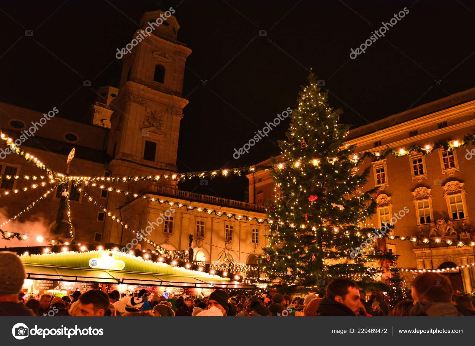 Salzburg Christmas Market.Salzburg Austria November 2017 Traditional Christmas Market