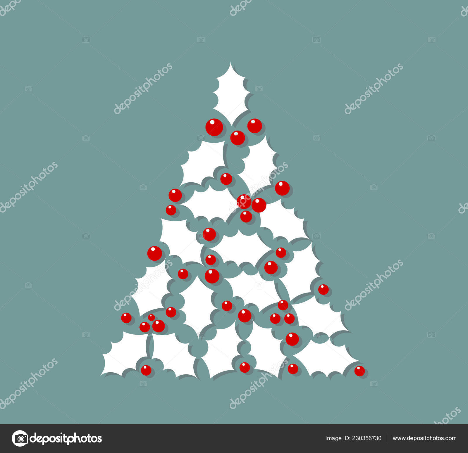 White Christmas Tree Shape Made Holly Berry Leaves Vector