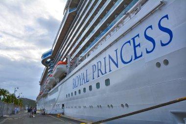 Royal Princess ship docked in Charlotte Amalie port in Saint Thomas.