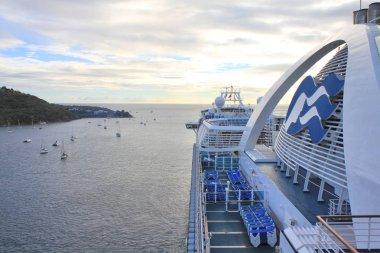 Crown Princess ship departs from Charlotte Amalie port on Saint Thomas island.