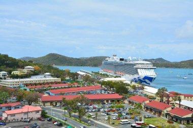 Royal Princess ship docked in Charlotte Amalie port.