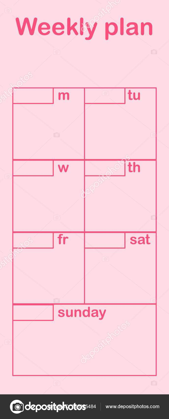 Weekly Plan Flat Style Schedule Template School Office Time