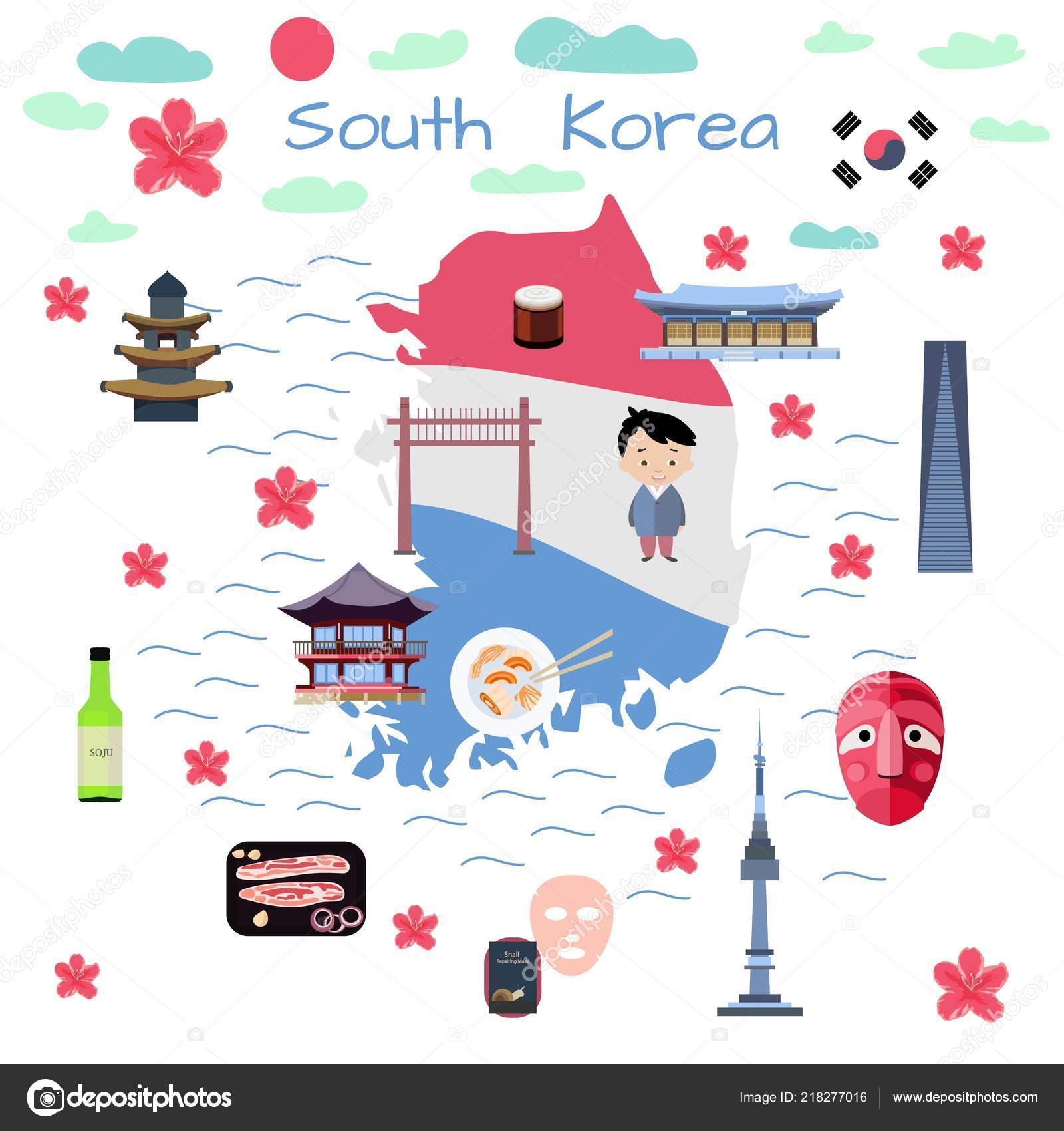 South Korea Map Flat Style Children Books Poster Travel
