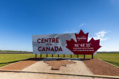 Sign of the center of Canada in Manitoba