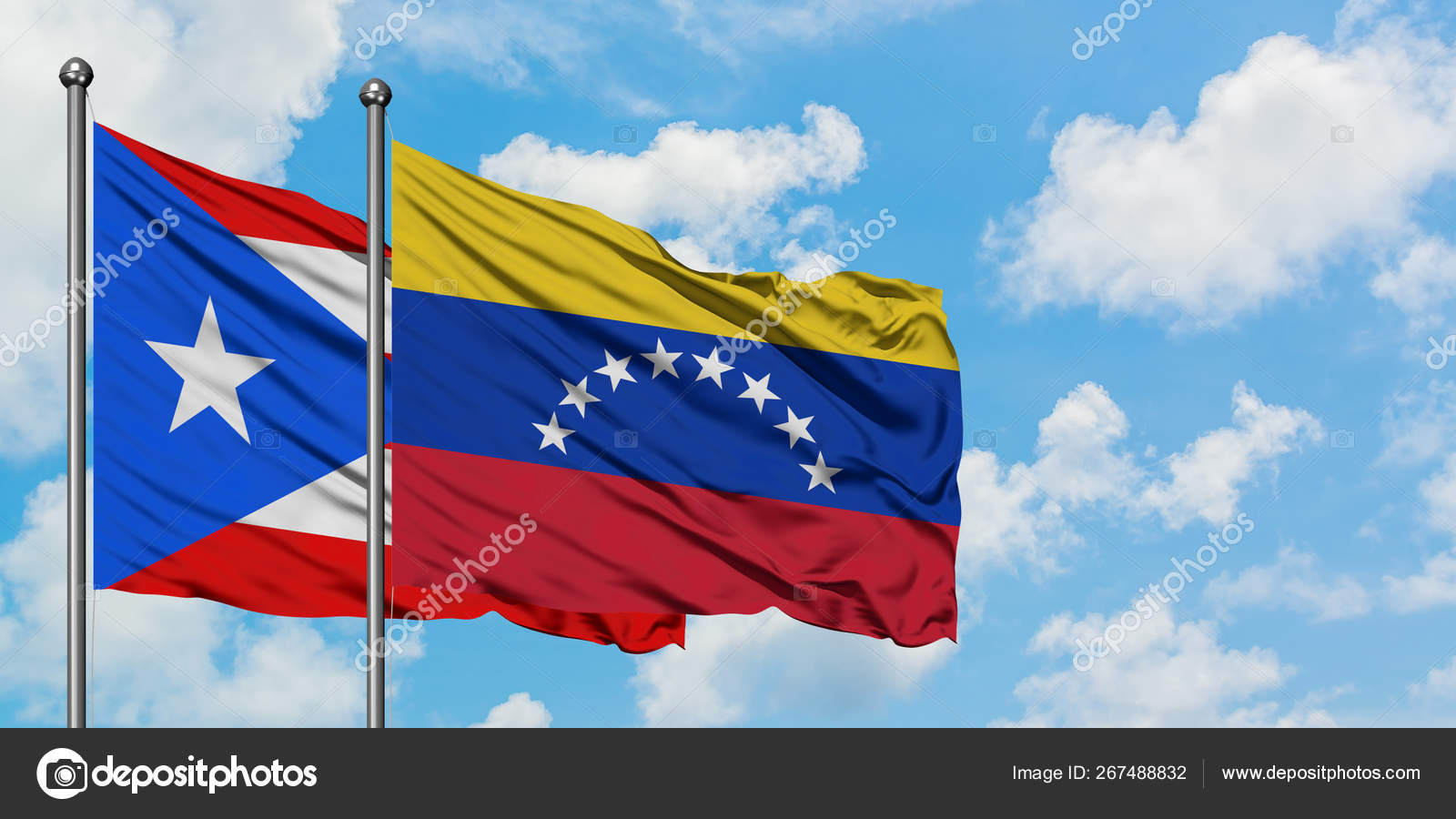 Puerto Rico And Venezuela Flag Waving In The Wind Against White
