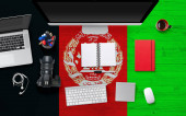 Fotografie Afghanistan flag background with headphone,camera, notebook and mouse on national office desk table.Top view with copy space.Flat Lay.