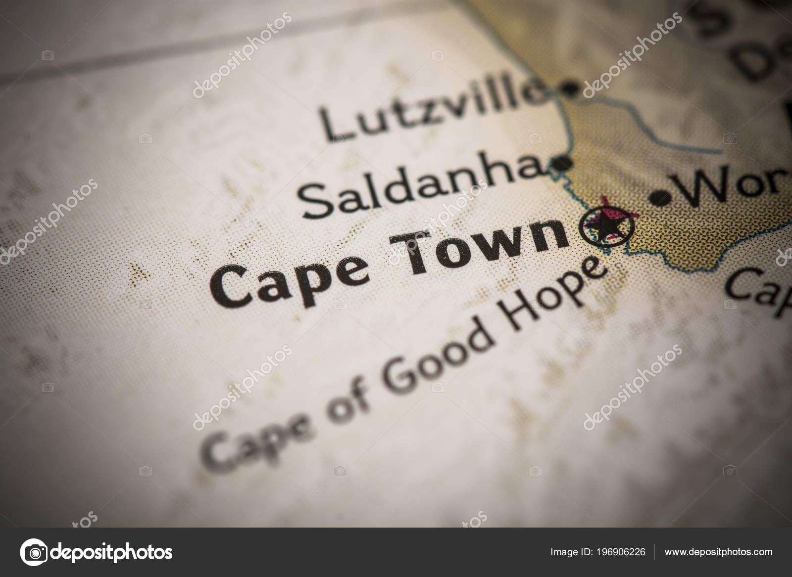 Closeup Cape Town South Africa World Map Stock Photo C Icemanj