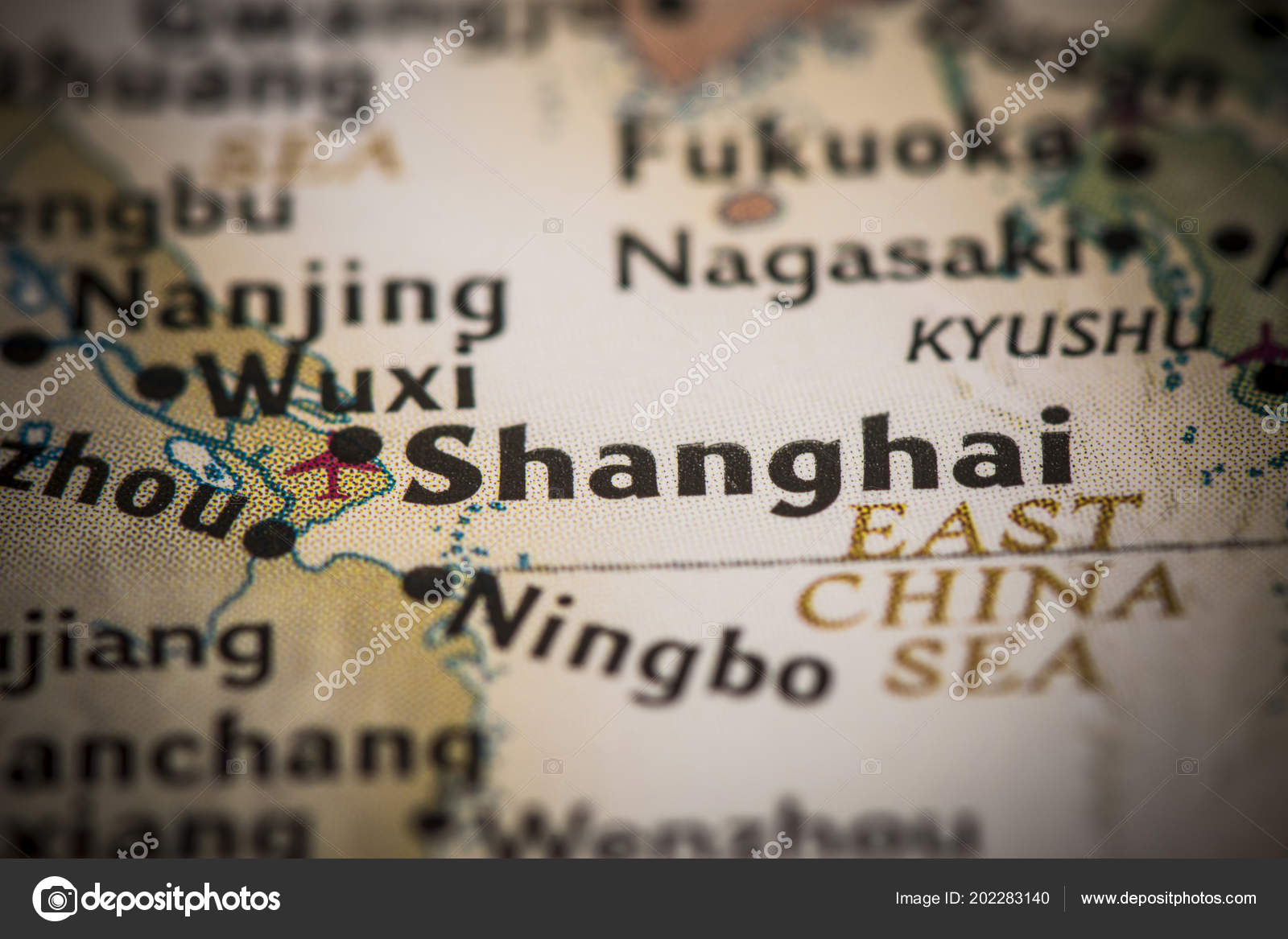 Closeup Shanghai China World Map — Stock Photo © icemanj #202283140