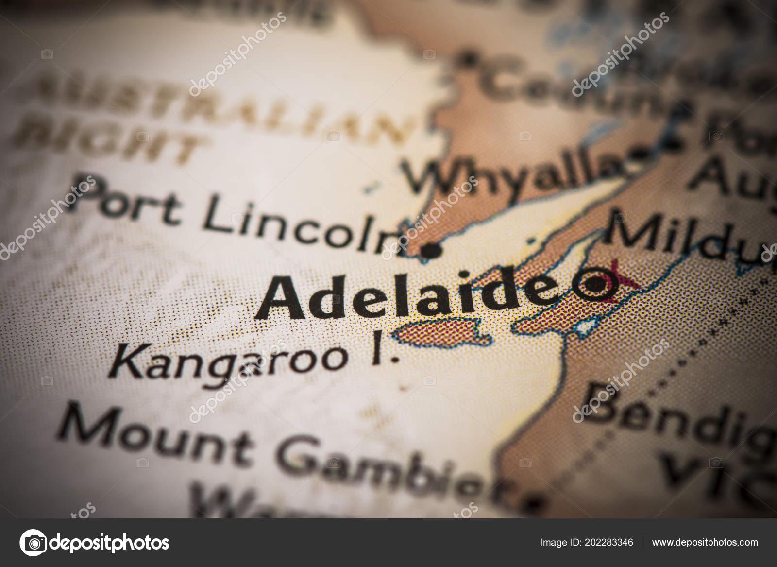 Closeup Adelaide Australia World Map Stock Photo C Icemanj 202283346