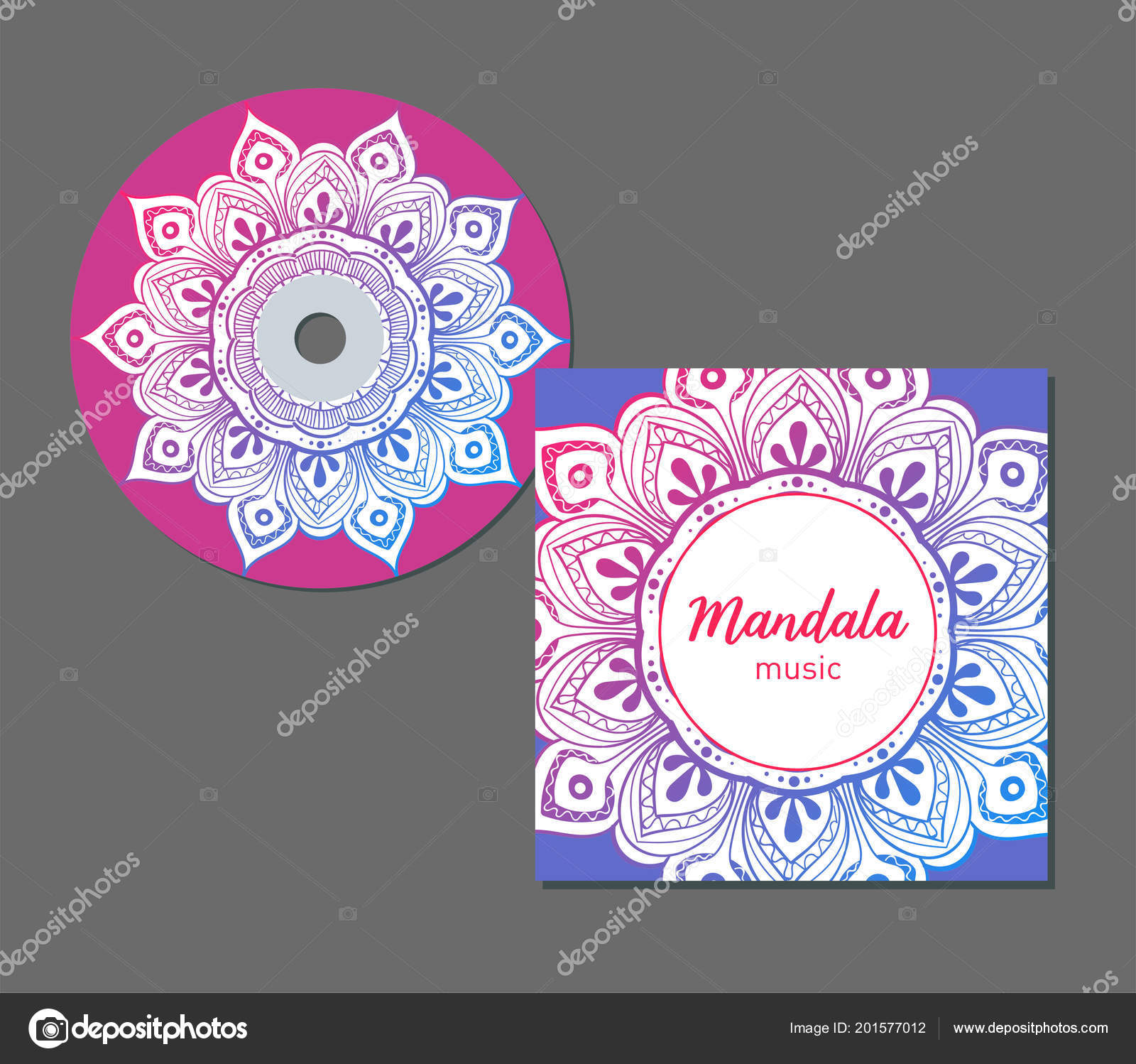 cd cover design template with floral mandala style arabic indian
