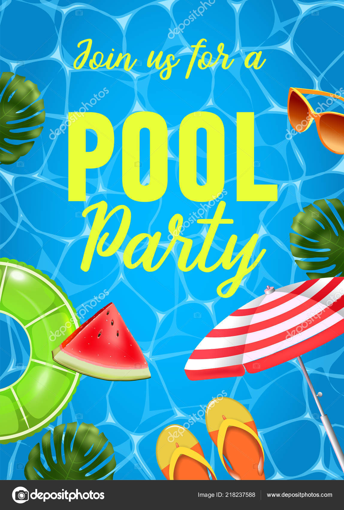 pool party invitation vector illustration top view of swimming pool