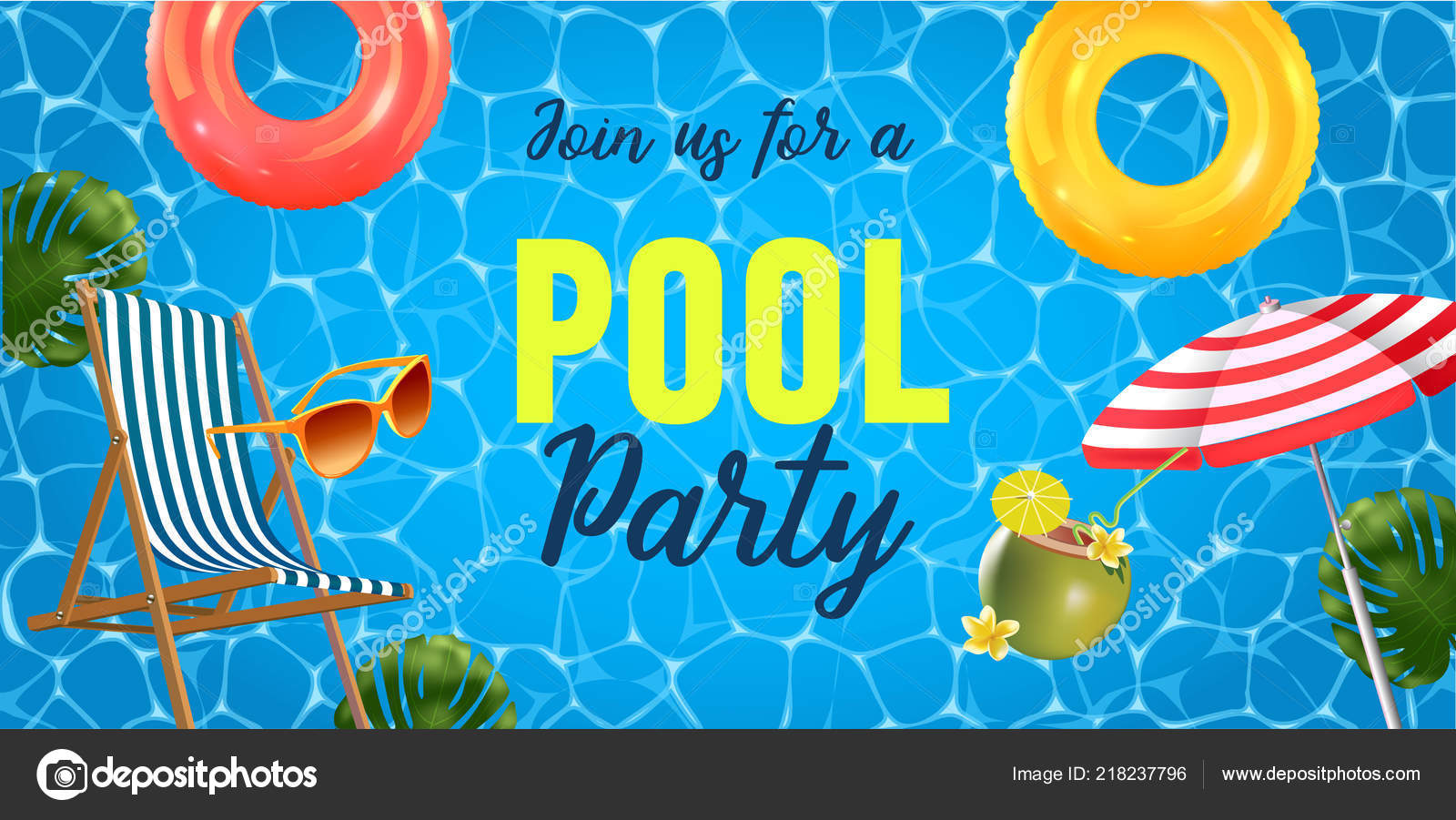 pool party invitation vector illustration top view swimming pool