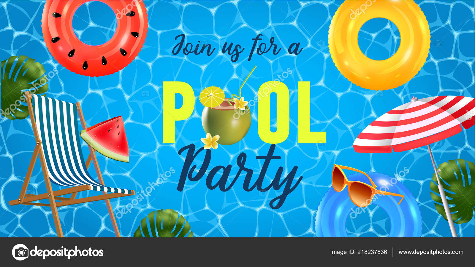 Pool Party Invitation Vector Illustration Top View Swimming Pool ...
