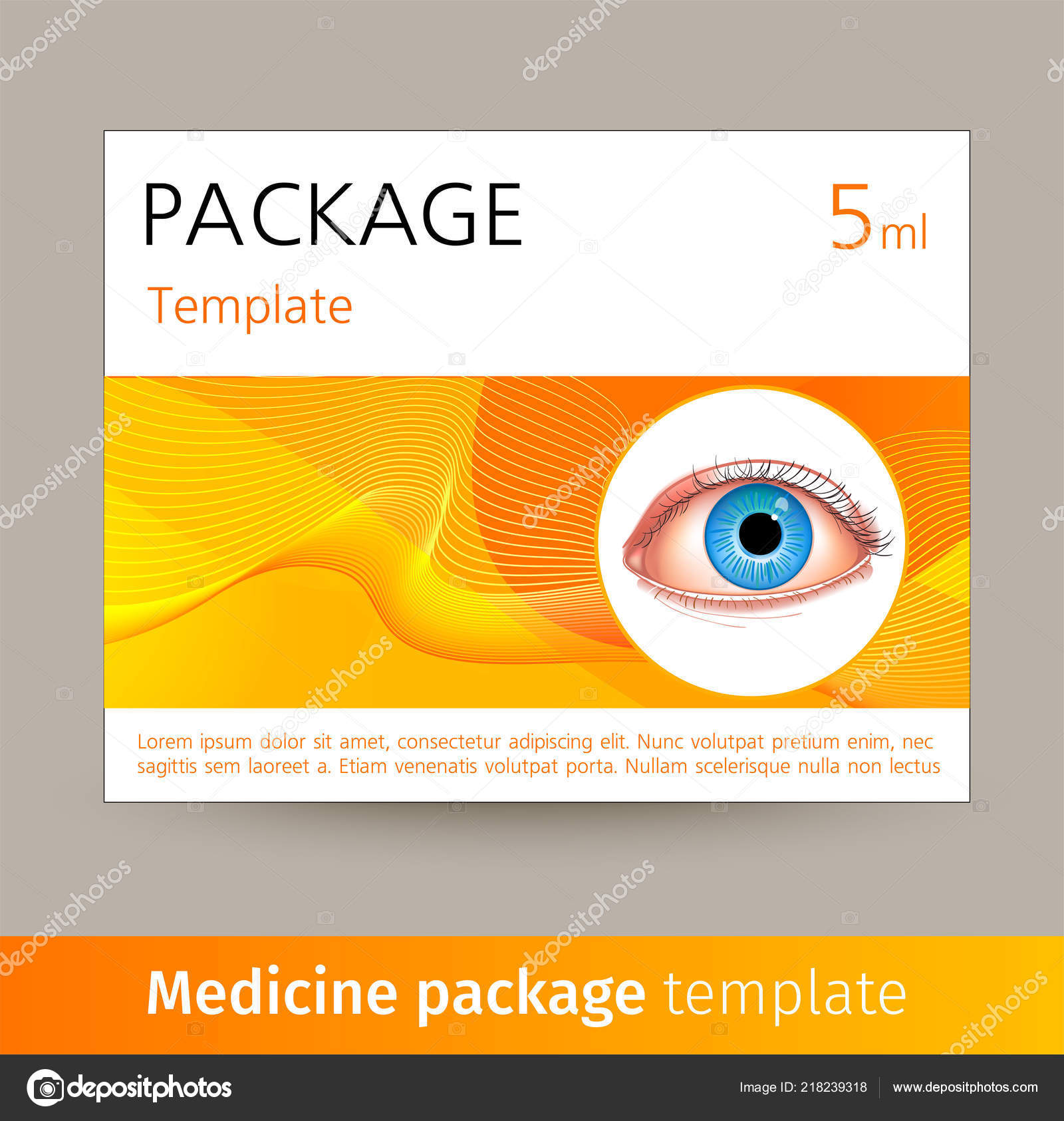 Vector medicine package template with realistic eye  Box with