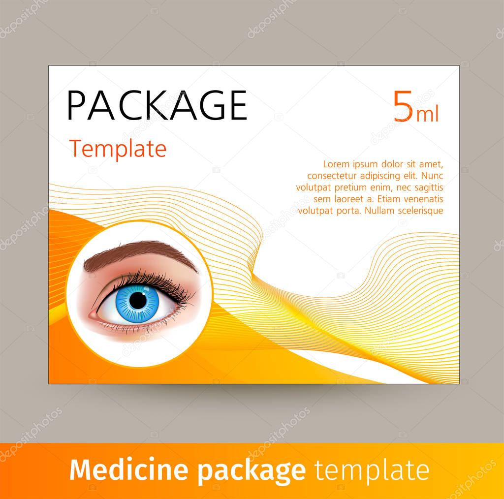 Vector medicine package template with realistic eye. Box with medical accessories for eye care, used to correct vision. Mockup for product ads, package design