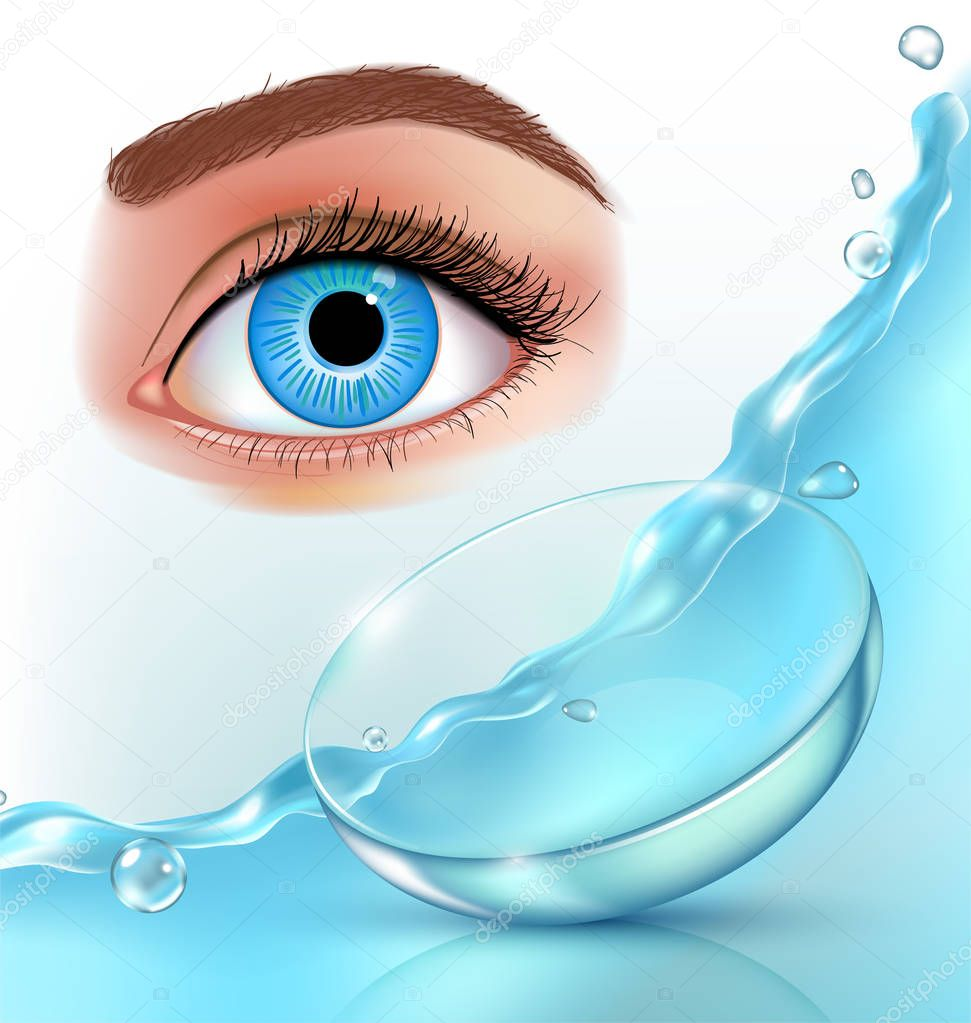 Contact lenses in water splashes, eye, realistic ad poster with brand identity on blue background vector illustration