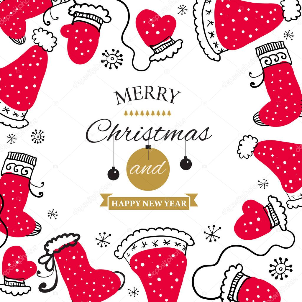 Christmas Postcard with design elements in doodle style. Text badge. Vector illustration