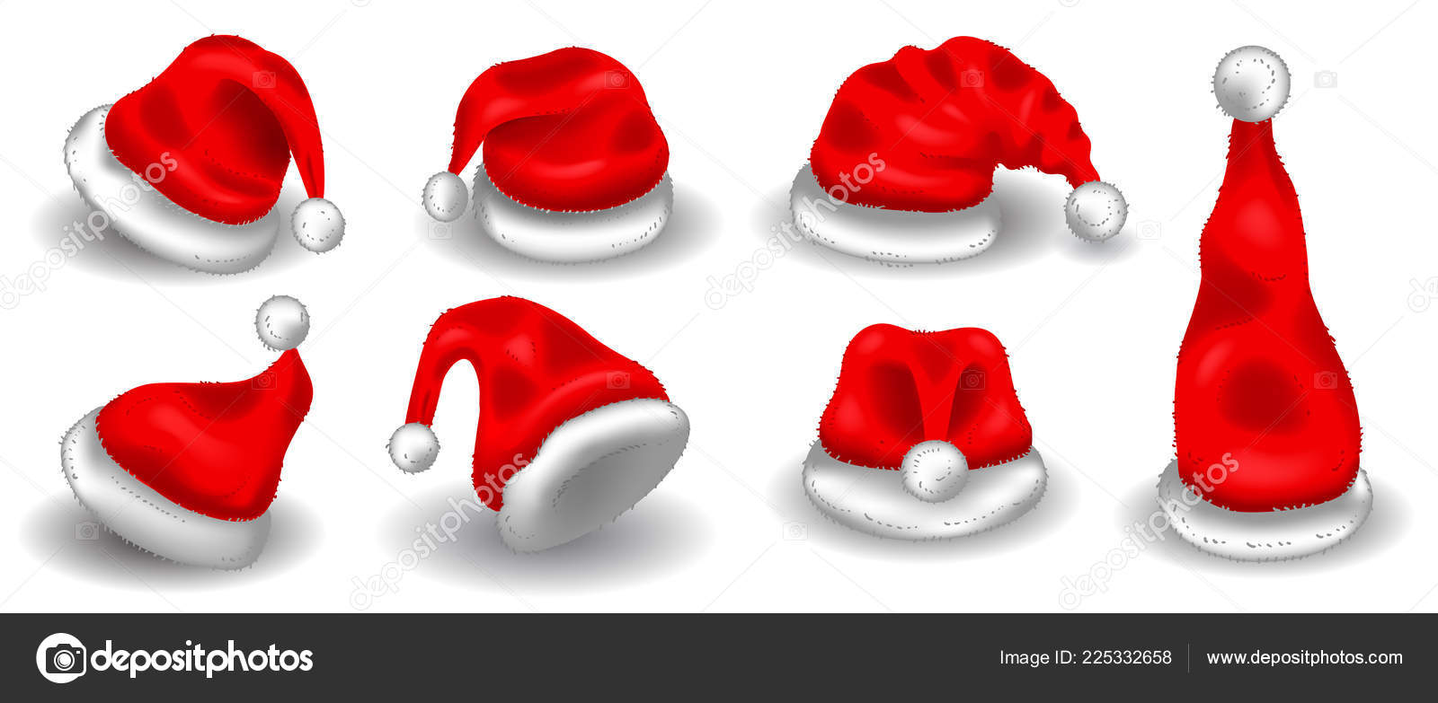 b1c9656eb Realistic christmas santa claus red hats isolated vector set. Santa ...