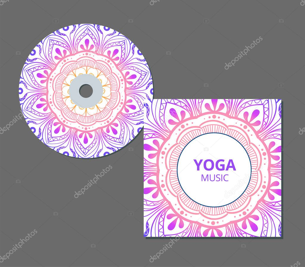 CD cover design template with floral mandala style. Arabic, indian, pakistan, asian motif.  illustration.