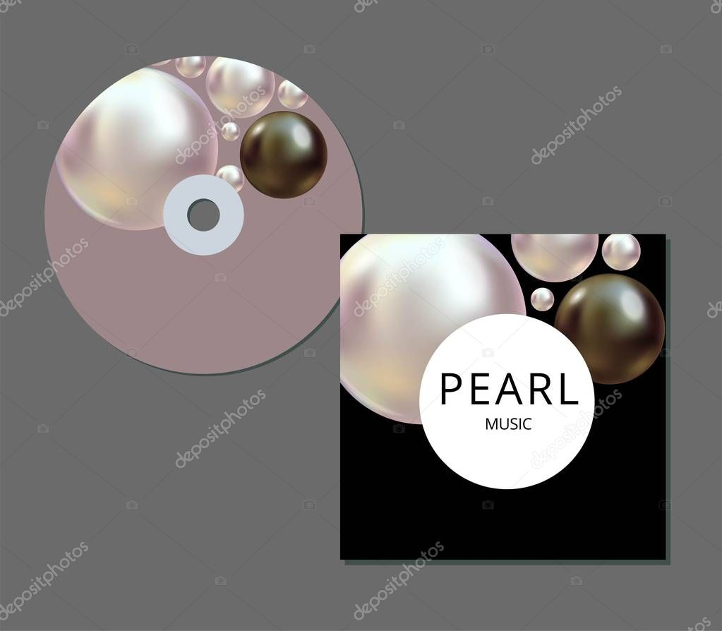 CD cover template with artistic, colorful creative abstract design for your business in EPS 10 format. Realistic black and white pearls.