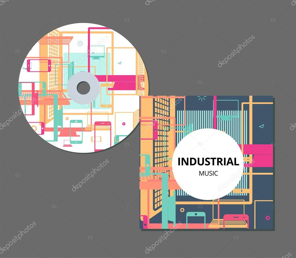 CD cover template with artistic, colorful creative abstract design for your business in EPS 10 format. Flat smartphone, computer monitor, laptop.