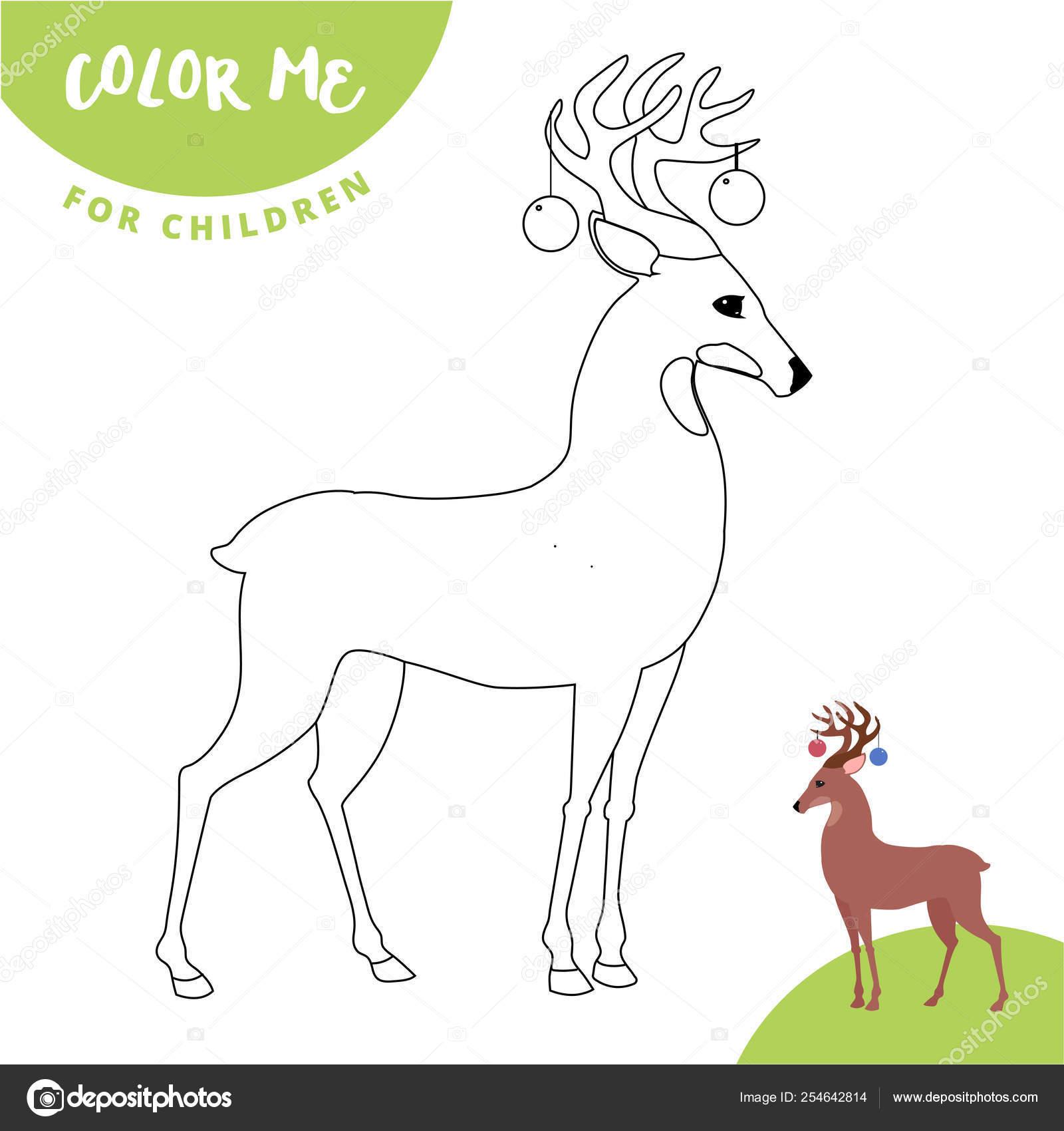Esquema De Página Para Colorear De Venados De Navidad Lindos Dibujos