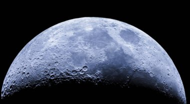 Amazing the moon rough surface full of craters from meteorites coming from the universe and crashing our satellite the Moon an awe relief