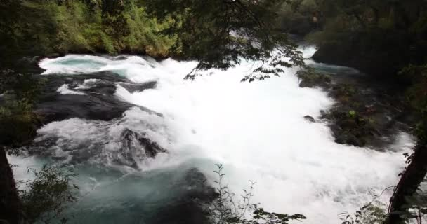 The wild white waters of Caburgua River flowing down and jumping at Carileufu waterfall. An amazing scenery inside the south of Chile rainforest at Pucon, an idyllic landscape for some relax time