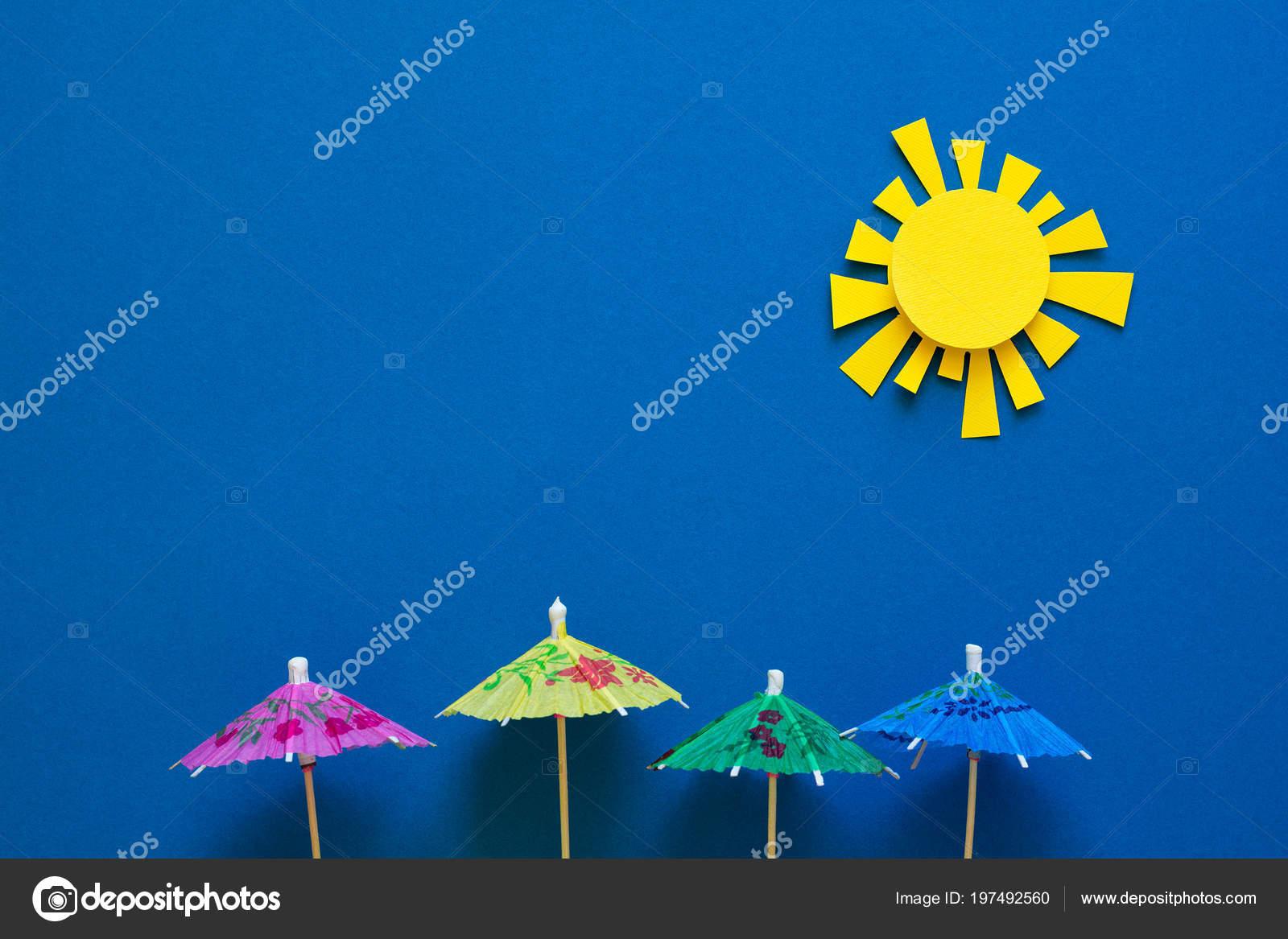 Paper Umbrellas Sun Origami Sun Protection Summer Vacation Concept