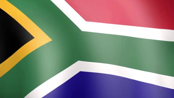 South African flag waving in wind