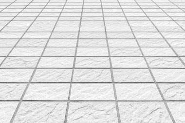 Outdoor white stone tile floor pattern and background