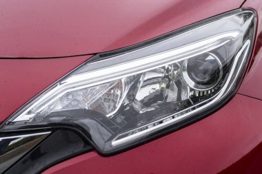 Close-up Red car headlight