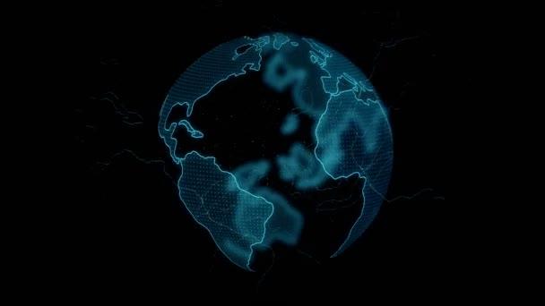 Digitális föld forgó globális hálózati koncepció 3D animáció