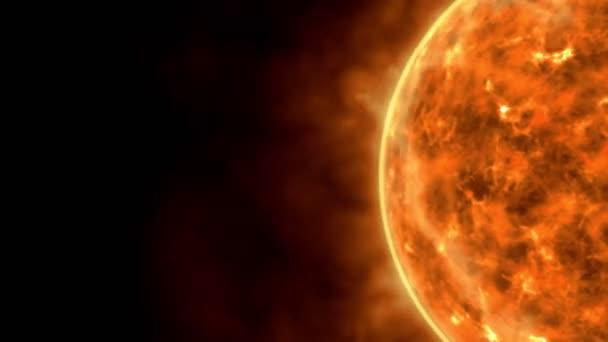 Sluneční hvězdný povrch se slunečními erupcemi, pálení sluneční animace 3D vykreslování