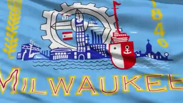 Milwaukee Waving American State Capital City Flag Animation