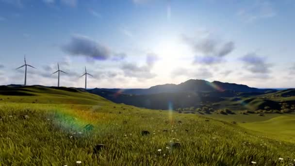 Windkraftanlagen auf einer grünen Landschaft