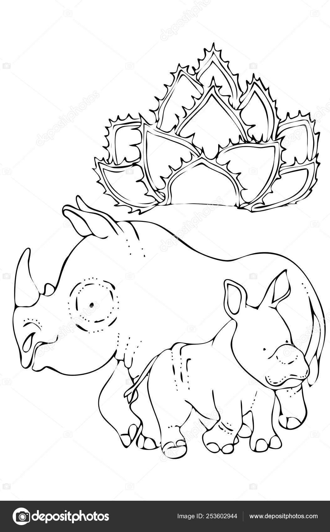 Para Colorear Para Niños Animales De La Selva Rhino Y Bebé