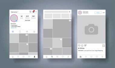 Social media network inspired by instagram. Mobile app with photos tile template. User profile, followers, recommendation and post. Story. Vector illustration