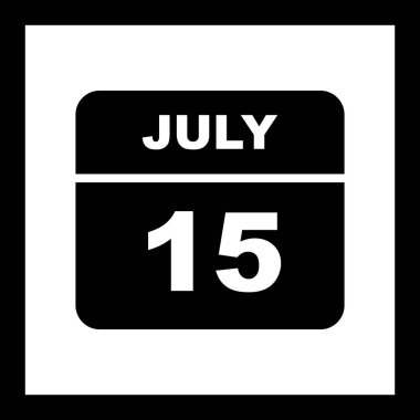July 15th Date on a Single Day Calendar
