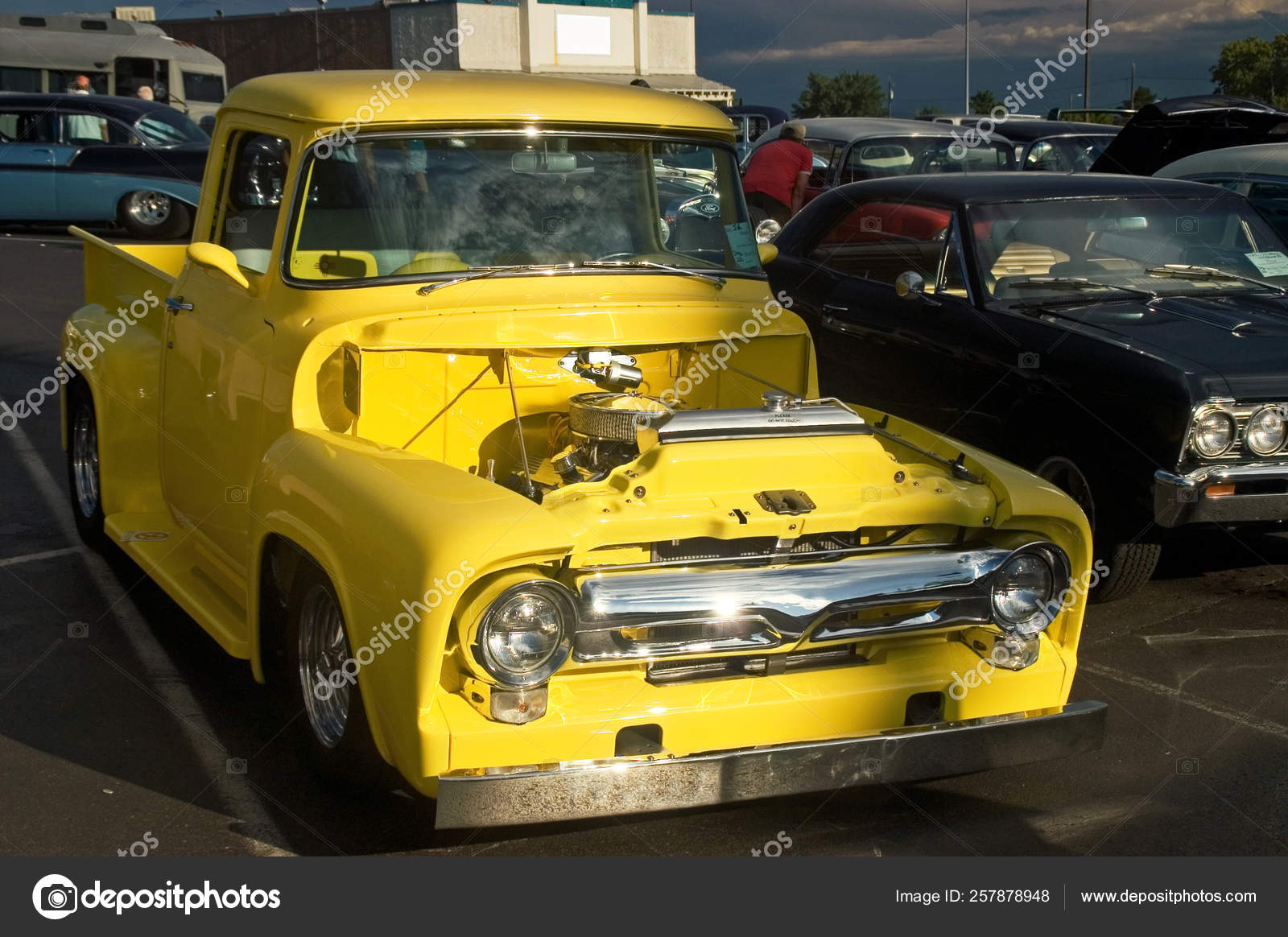 50s Ford Truck >> Classic Yellow 50s Ford Hotrod Pickup Stock Editorial