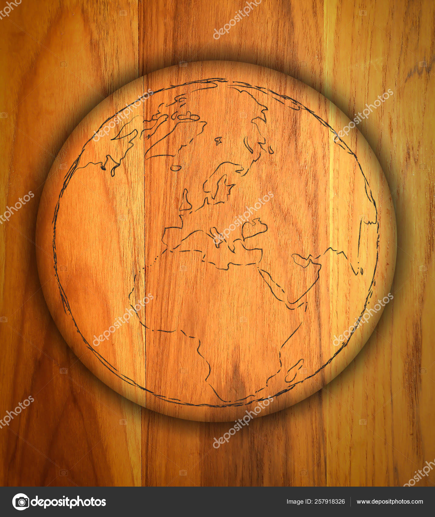 Draw Sign World Map Wood — Stock Photo © YAYImages #257918326