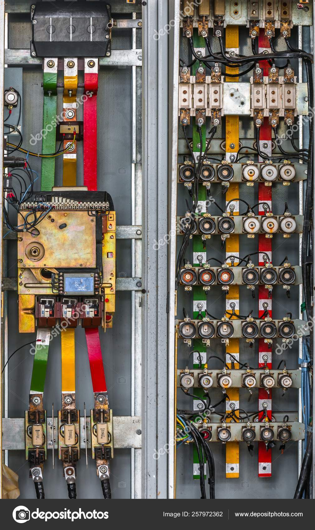 industrial fuse box wall closeup photo — stock photo © yayimages #257972362  depositphotos