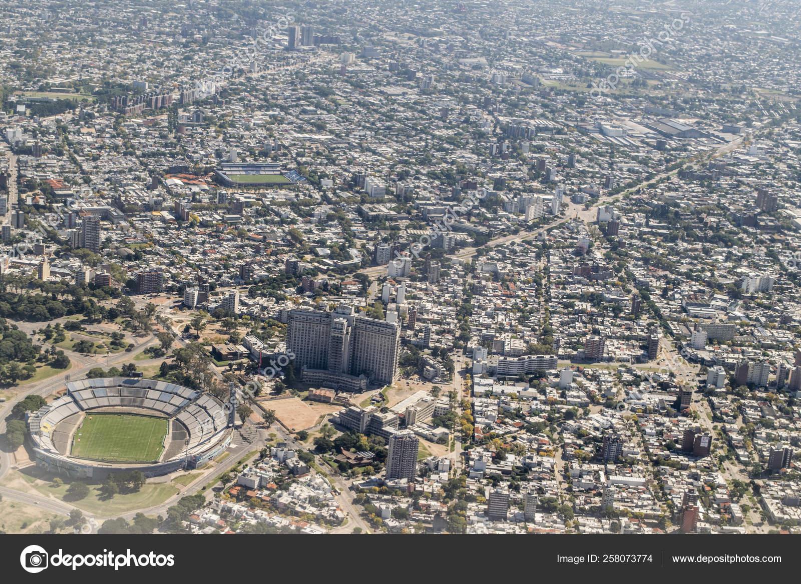 Aerial View Window Plane Capital City Uruguay South America — Stock on
