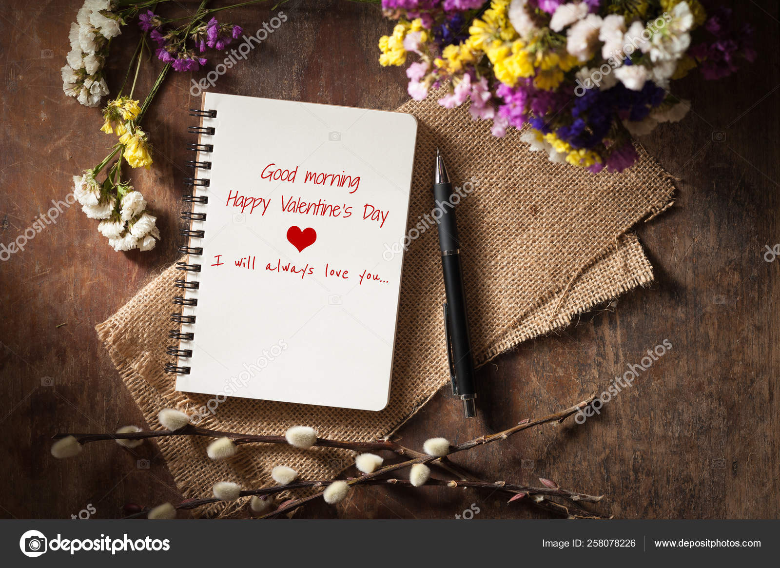 Good Morning Happy Valentine Day Always Love You Written Opened Stock Photo C Yayimages 258078226