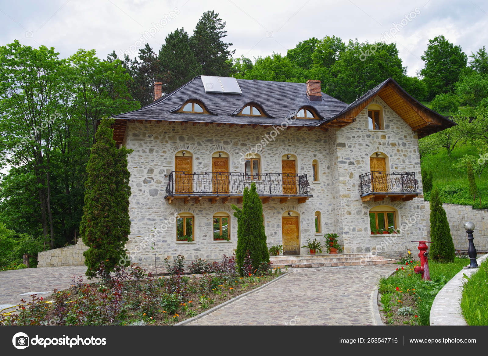 Stone House Design Forest Garden Front Stock Photo C Yayimages
