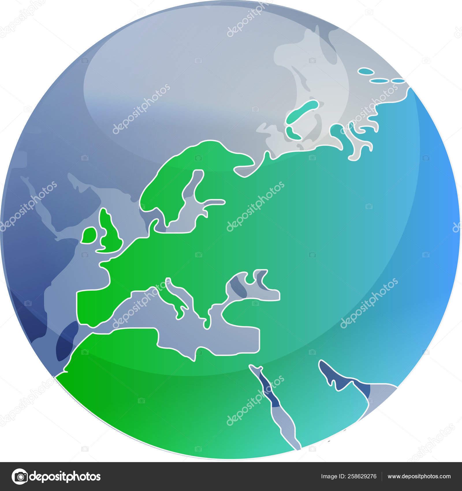 Map Europe Spherical Globe Cartographical Illustration Stock Photo C Yayimages 258629276
