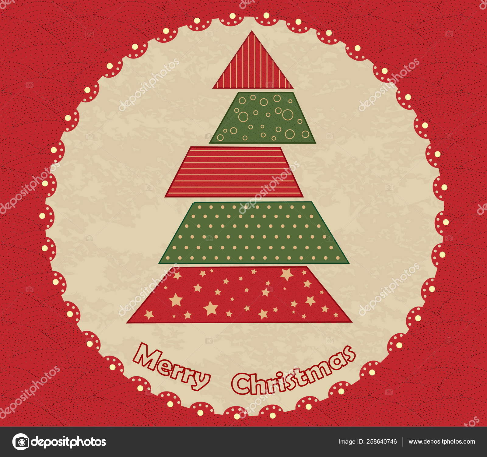 Christmas Tree Green Red Vintage Texture Stock Photo C Yayimages 258640746