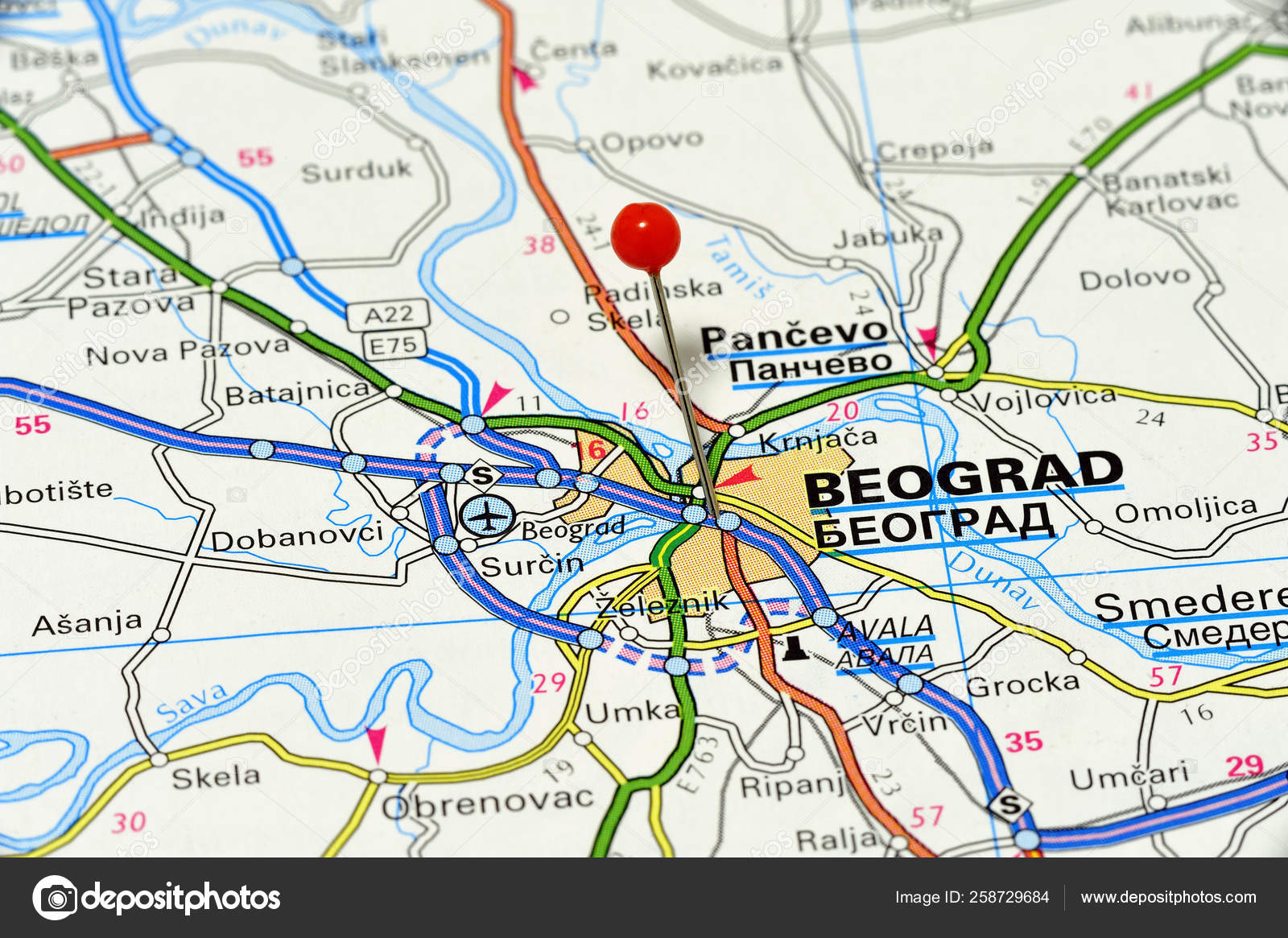 Map Pin Point Beograd Serbia Stock Photo C Yayimages 258729684