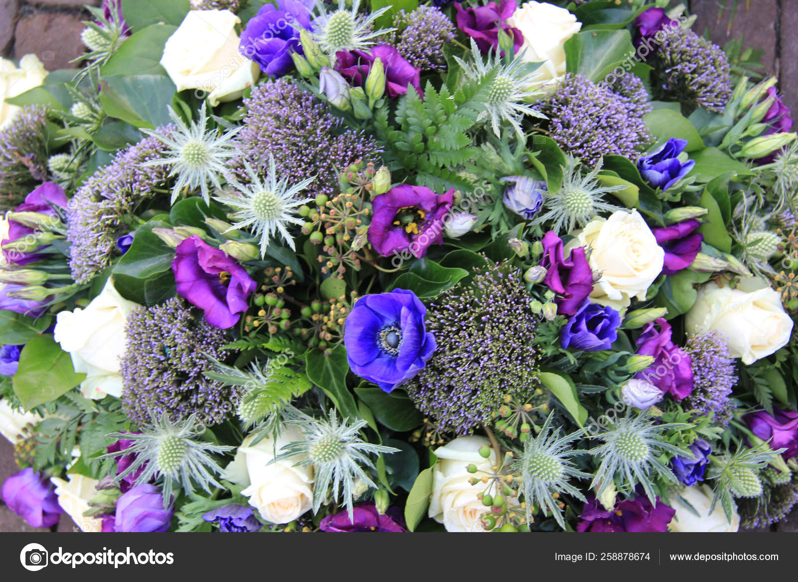 Flower Arrangement White Purple Blue Stock Photo C Yayimages 258878674