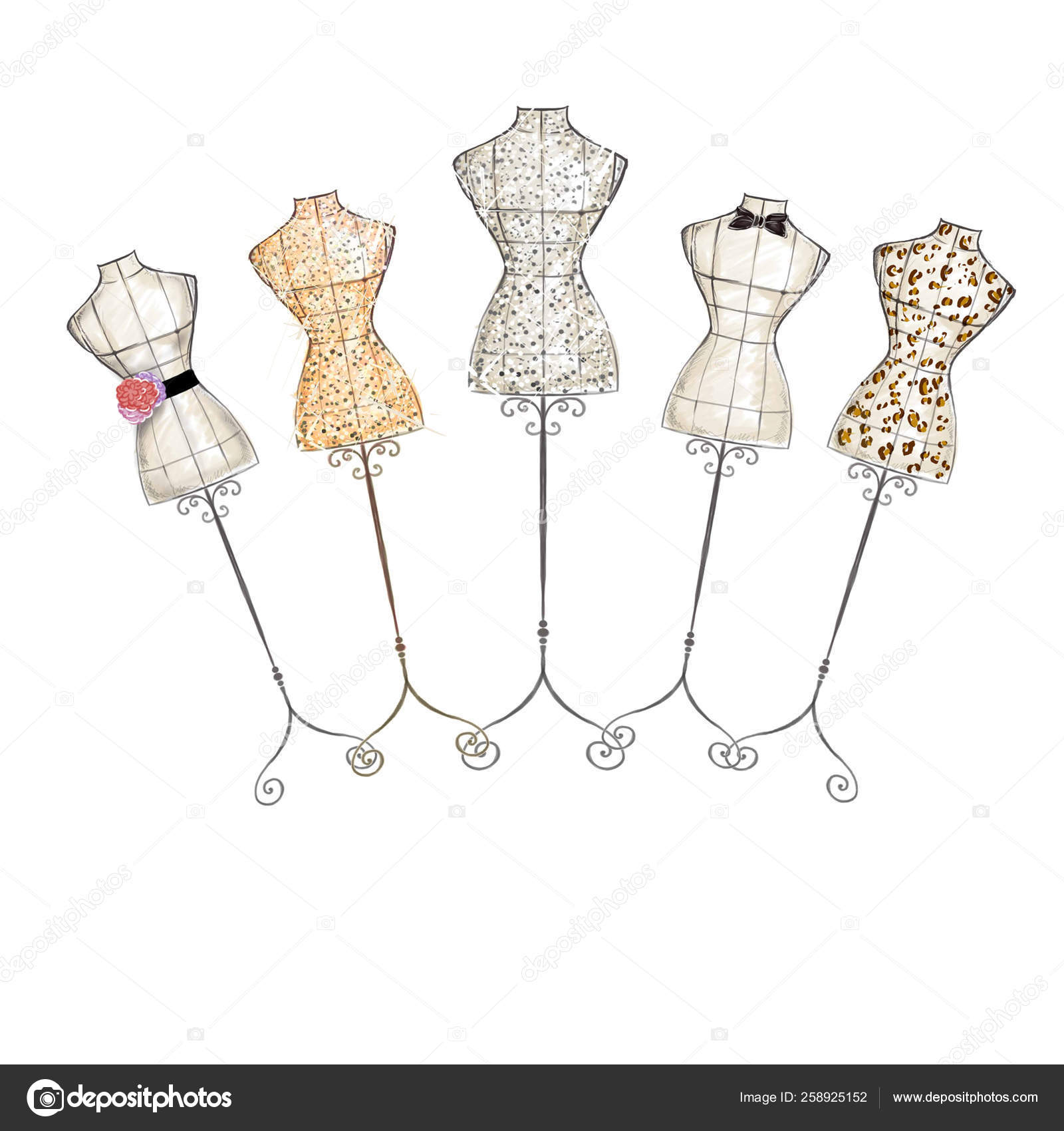 Hand Draw Fashion Illustration Watercolor Mannequin Stock Photo C Yayimages 258925152